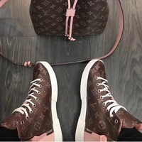 LV Louis Vuitton Women High Tops Shoes Boots White Lace Up Pink Tail