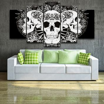 Personalized Skull Arts 5 Piece Artistic Print on Canvas Black White Skull Painting Modern Home Decor Wall Art Pictures (No Fram