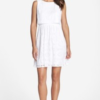 Petite Women's Eliza J Cotton Popover Dress,