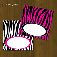 Hot Pink and Zebra Food Labels - Zebra Stripes and Pink Printable Food Labels (Tent Cards) - INSTANT DOWNLOAD