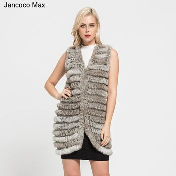 Jancoco Max+  2018 New Women's Natural Knitted Rabbit Fur Long Vest Fashion Style Real Fur Waistcoat Ladies Gilet S7111