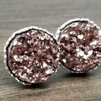 Rose Gold faux druzy in Crown stud earrings (you pick setting tone)