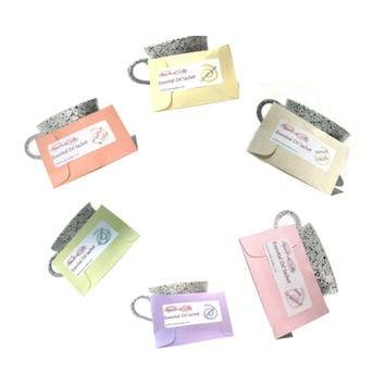 6 Aromatherapy Sachets Eco Friendly - Made With Essential Oil - All Natural Candle Sachets - Biodegradable Compostable - Pastel Modern