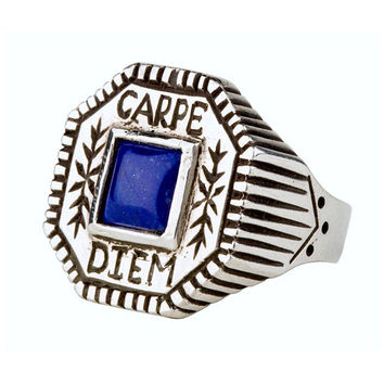 Carpe Diem Silver and Blue Lapis Ring