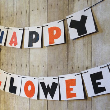 Happy Halloween Banner, Halloween Decor, Halloween Garland, Halloween Party Decorations