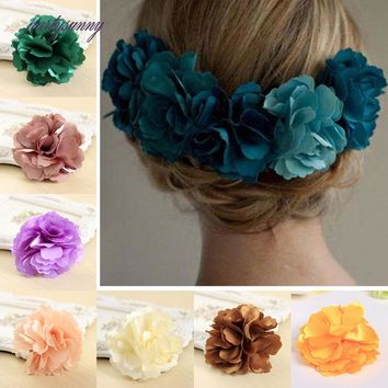 PF Rose Barrette Hairpins Silk Flowers for Hair Clips for Women Elegant Hair Accessories Hairpin Flower Brooch Decoration FH001