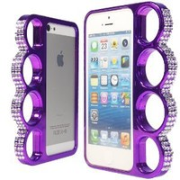 WwWSuppliers Stylish Bling Rhinestones Diamonds Rings Case for Apple iPhone 5 5S Unique Fancy Elegant Luxury Rings Hard Bumper Cover in Retail Package + Free Stylus & Screen Protector (Purple)