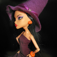 """Halloween Doll Jewelry doll earrings handmade polymer clay with rhinestones """"Angry Pumpkin"""" fits Monster high doll, Ever after high doll"""
