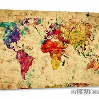 Large Wall Art Canvas Retro and Colorful Old World Map Print | Wall Art Map Canvas | Watercolor World Map Canvas Print