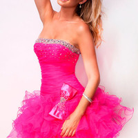 Hot Pink Beaded Balerina Tulle Short Prom Dress - Unique Vintage - Prom dresses, retro dresses, retro swimsuits.