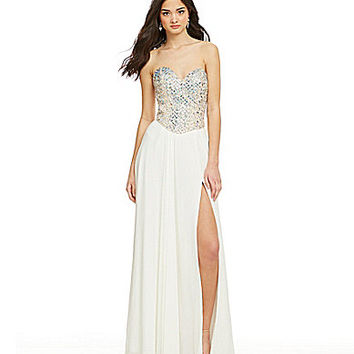 Glamour by Terani Couture Strapless Rectangle Beaded Gown | Dillards.com