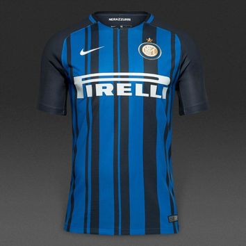 KUYOU Inter Milan 2017/18 Home Men Soccer Jersey Personalized Name and Number