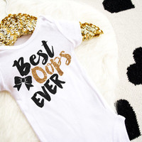 Best Oops Ever Shirt Baby Shower Gift Bodysuit Baby Girl Clothes Baby Girl Shirt Baby Clothes Baby Gift White And Gold #16