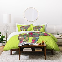 Sharon Turner Painted Elephant Chartreuse Duvet Cover