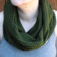 Olive Green Cowl Snood, crochet neckwarmer scarf, ready to ship.