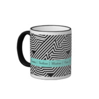 Trendy Black and White Geometric Aqua Fashion Mug