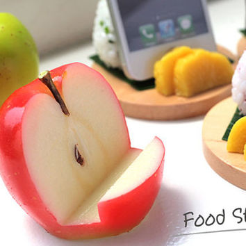 Delicious Japanese Apple Fruit Yummy Life Like Actual Size Realistic Food Inspired Unique Cell Phone Mobile Stand Holder 54-800102