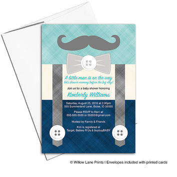 Little man baby shower invitation for boys | suspenders and mustache baby shower invites | navy turquoise | printable or printed - WLP00771