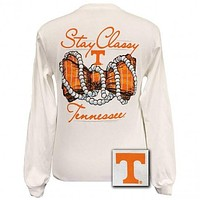 Tennessee Vols Stay Classy Pearls Bow Bright Long Sleeves T Shirt