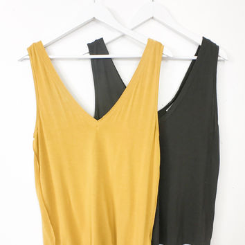 Double Raw Neck Tank