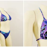 Vintage Swimsuit 90s Venus Bikini Halter Brazilian Brief 2 Piece Bathing Suit Indigo Royal Blue Purple Silver Tropic Deadstock NWT Large