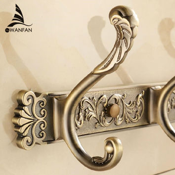 Free Shipping Bathroom wall Carving Antique robe hooks 4-8 Row Hook coat hanger door hooks for bathroom accessories HA-26F