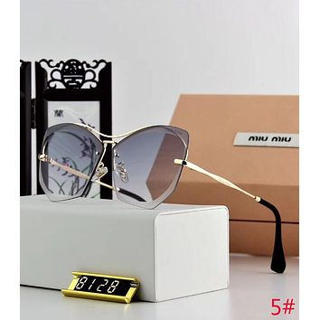 Miu Miu Popular Women Cute Summer Sun Shades Eyeglasses Rimless Glasses Sunglasses 5# Black Grey I12645-1