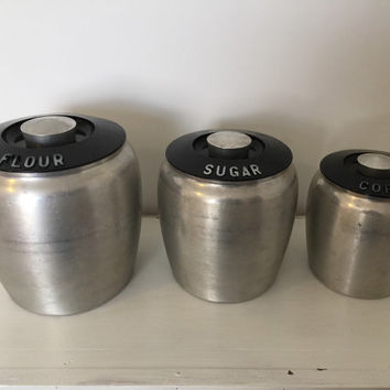Set of 3 Vintage Kromex Canisters- Black & White Aluminum -Retro Mid Century Kitchen