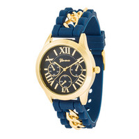 Gold Watch With Navy Blue Rubber Strap