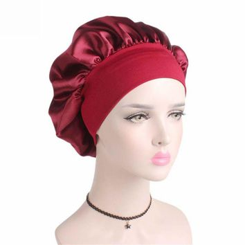 NEW Wide Band Satin silk Bonnet Cap Comfortable Night Sleep Hat Hair Loss Cap Chemo Caps