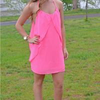 Draping Back Dress in Neon Pink