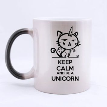 Surprise Morphing Mug Cute Unicorn KEEP CALM AND BE A UNICORN Heat Sensitive Color Changing Mug Coffee Mug (Ceramic/11 Ounces/Cu