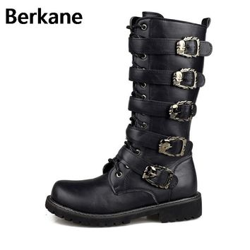 Army Boots Men Military Leather Combat Metal Buckle Male Motorcycle Punk Boots Men's Shoes Rock Zapatillas Deprtivas Hombre