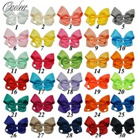 30pcs/lot Hot Sale 4 Inch Boutique Hair Bow Girls Grosgrain Ribbon HairBow with Clips