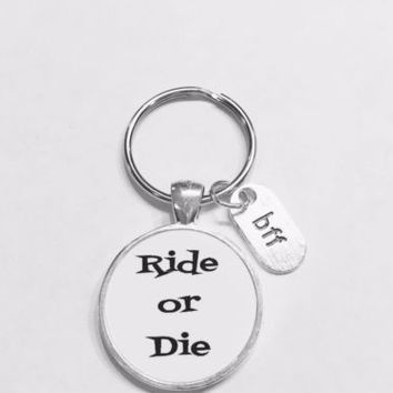 Best Friend Ride Or Die Bff Friendship Partners In Crime Gift Keychain