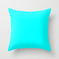 Aqua Throw Pillow by Beautiful Homes
