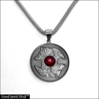Wolf and Raven Antique Silver Finish Coin In Stainless Steel Bezel on Mesh Chain Necklace