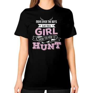 Girl hunt Unisex T-Shirt (on woman)