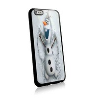 Snowman Olaf Make a Angel in Snow for Iphone and Samsung Galaxy Case (iphone 6 plus black)