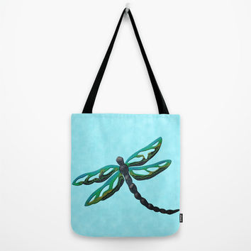 Dragonfly Tote Bag in aqua, green and blue, aqua tote, dragonfly art, washable tote comes in three sizes, book bag, beach bag, shopping bag