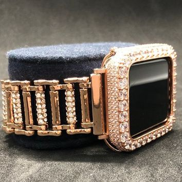 Apple Watch 38mm 42mm Band Series 1 2 3 Womens Rose Gold Rhinestone Crystal Chain /Iced Out Bezel Case Cover 2mm Lab Diamonds Iwatch Bling