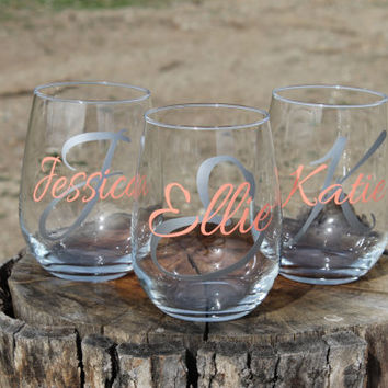 Set of 3 Personalized Monogrammed Stemless Wine Glasses - Wedding Party Gifts - Girls Weekend - Bachelorette Party -Bridesmaid Gifts
