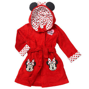 Disney Baby Girls Red Hooded Knit Robe with White Polka Dot Accents and Minnie Mouse Applique - Toddler