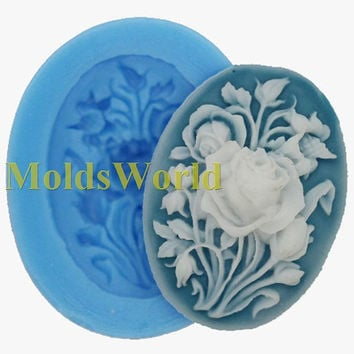 A401 Rose Flower Cabochon Polymer Clay Mold Food by MoldsWorld