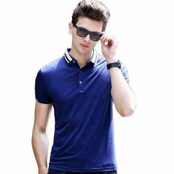 DCCKON3 2017 Top Quality Summer Short Sleeve Polo's Solid Color Business men's brand polo Shirts Embroidered stripe collar tops 7189