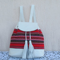 Women backpack handmade of white leather and traditional Greek woven fabric in red. Ethnic bag Crete-BP 04W NEW