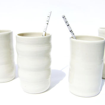 Set of 4 Tall White Ceramic Tumblers - tall drinking glass, Scandinavian Design