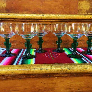Vintage Set of 6 Saguaro Cactus Margarita Glasses by Libbey, Southwest Mexican Style Cinco de Mayo Party Barware Libbey Green Cactus Goblets