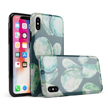 Watercolor Cactus Succulent Bloom V7 - iPhone X Swappable Hybrid Case