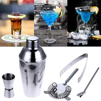 5Pcs/Set 550ml Stainless Steel Cocktail Shaker Mixer Bartender Kit Set Strainer Ice Tongs Mixing Spoon Measure Cup Bar Tool Kit